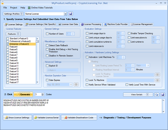 Click to view CryptoLicensing For ActiveX 2013 R2 screenshot