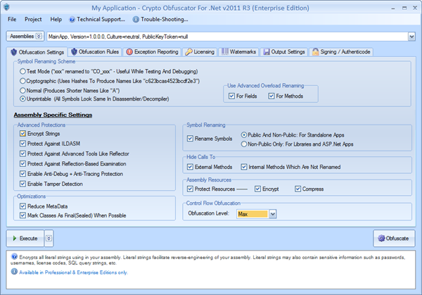 Click to view Crypto Obfuscator For .Net 2011 R3 screenshot